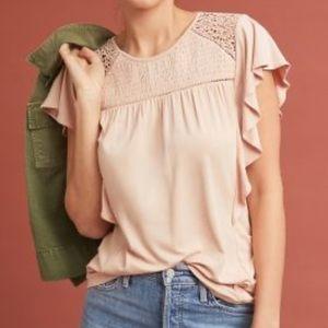 Anthropologie Alice Flutter-Sleeve Top - Size M